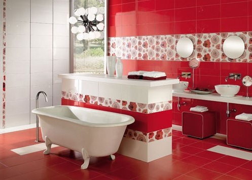 Idee archivi idee bagno - Bagno mosaico rosso ...